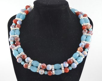 Handmade, Pale Blue and Brown Agate Necklace with diamantes