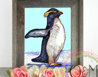 Penguin Art Print, Watercolor Penguin, Penguin Painting, Penguin Nursery Art Print, Penguin Illustration, Penguin Wall Art, Kids Room Art