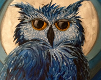 Owl Oil Painting, Blue Owl Painting, Original Art, Owl Art, Owl Wall Hanging, Owl Home Decor, Owl Painting