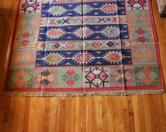 Indian Dhurrie Rug 6x9 Bohemian Detailed Vibrant Rustic Full Patterned Playful Vintage Earthy Hipster Double Sided Area Rug Flatweave