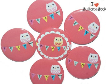 10 x JGA buttons hen party OWL red white colorful celebration wedding