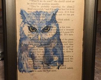Owl Vintage 1949 Book Page Art