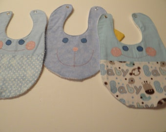 baby bib set, boy bibs, baby shower, appliqued bibs