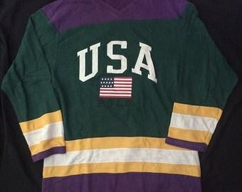 Vintage Polo Ralph lauren USA Polo Hocket Jersey Size XL