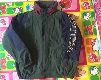 Vintage Nautica Spell Out Color Block Reverisble Fleece Inside Hidden Hood
