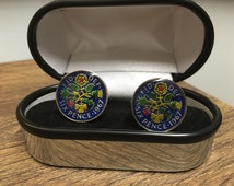 1967 49th birthday enamelled sixpence cufflinks with gift box