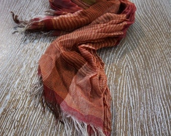 Brown Striped Cotton Scarf, Cotton Scarf, Handmade Cotton Scarf