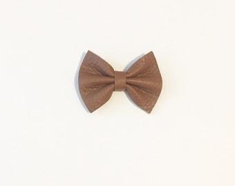 Baby Bow - Handmade Bow - Leather Bow - Caramel