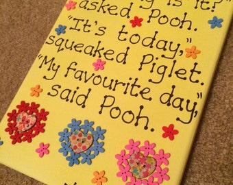 Winnie the Pooh Canvas 'What day is it?...' A. A. Milne