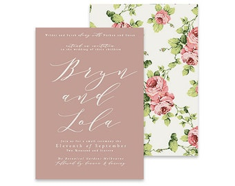 Pink Wedding Invitation | Pink Parisol | Printable DIY Invite, Affordable Wedding Invitation | Country style invitation with vintage flowers