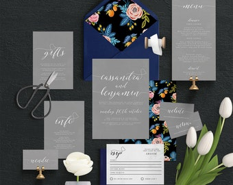 "Printable Wedding Invitation Suite ""Quaint Grey"" - Printable DIY Invite, Affordable Wedding Invitation"