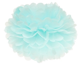Pom Pom, Tissue Paper Pom Pom Ball, Tissue Paper Pompoms, Light Blue Pom Poms, Wedding Backdrop, 1st Birthday Hanging Poms, Gender Reveal