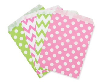 Party Favor Bag, Paper Favor Bags, Pink and Lime Green Polka Dot Chevron Paper Favor Bags, 1st Birthday Favor Bags, Bridal Shower Brunch Bag