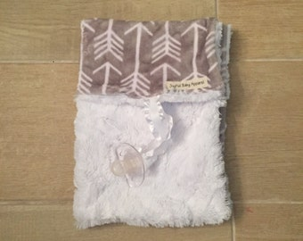 gray arrows minky binky blanket, pacifier blanket