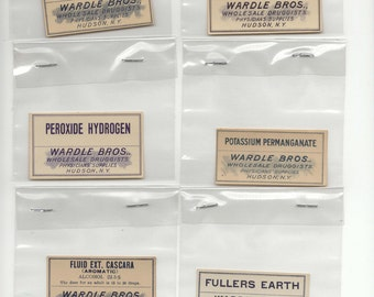 10 Vintage Pharmacy Labels (Lot 1)-Wardle Brothers Drug Store, New York