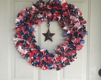 Red White and Blue Stars and Stripes Americana Fabric Wreath