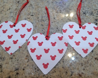 Disney Minnie Mouse Red & White Heart Kids/Gift Tags 12no Hand made