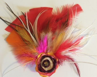 Feather and ribbon flower, hairclip, handmade.