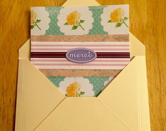 French Thank You Floral Card Merci with Insert Perfect for Money or Gift Cards