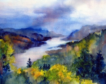 Vista House - signed watercolor print - Bonnie White - Columbia Gorge - National Scenic Area - watercolor paintings