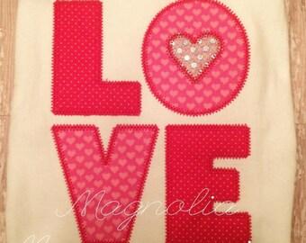 Valentine's Day LOVE appliquéd shirt for girls