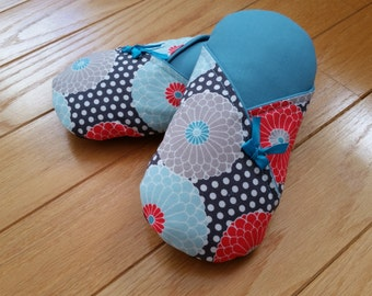Gerbera Kimono Style Women's Slippers - 100% Cotton Indoor Soft Sole Slippers