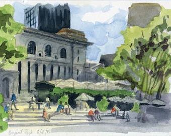 "6""x9"" Original Watercolor Painting - Bryant Park"