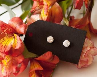 8mm White Druzy Stud Earrings - Great Bridesmaid Gift!