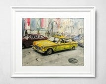 Original, realistic, vintage taxi watercolor painting. Succulent watercolor. Yellow taxi painting will be great as watercolor gift.