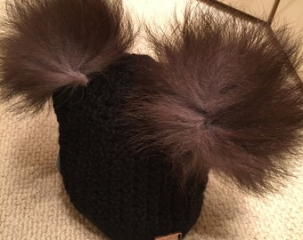 Black wool hat with 2 Pom Poms