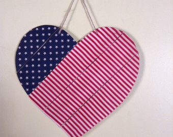 Flag inspired heart wall hanging