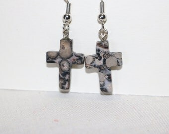 Spotted stone cross earrings