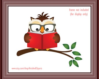 Wise Owl Reading a Book Printable Art Poster 8 x 10 inch Instant Download Print (1038) Reading Room Decor, Wall Art, Baby Room Decor