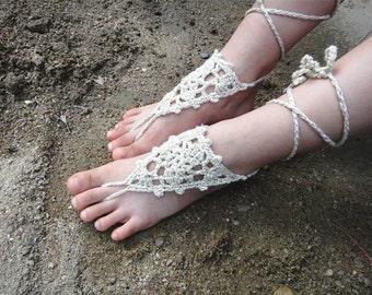 Beach Wedding Flower Girl Shoes Gold Barefoot Sandals