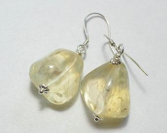 Yellow Citrine  Earrings,  Yellow Earrings, Nugget Earrings, minimalist, 925 Silver