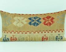 Vintage Living Room Decor Kilim Pillow Cover- Throw Pillows -12x24 inch Wool Cushions  lkp11-45