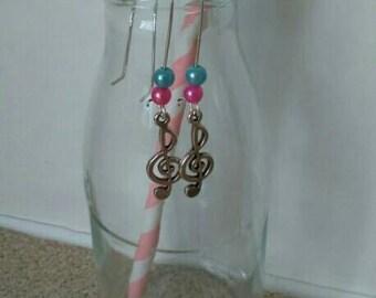 Musical note tunnel drop earrings
