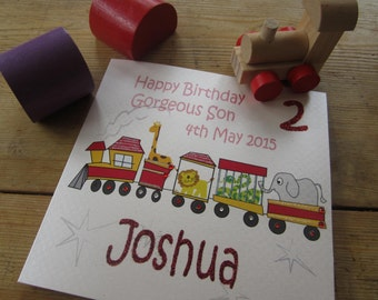 Personalised Son Birthday Age Card - Circus Train Design PPS26
