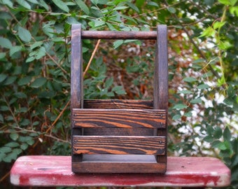 Rustic Napkin Caddy, Napkin Holder, Condiment Holder, Condiment Caddy, Restaurant Decor, Wood Tote