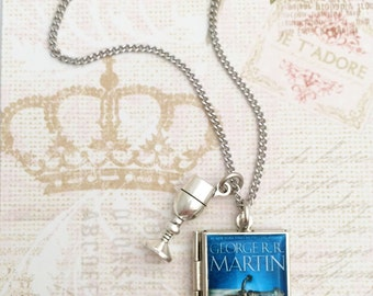 Game of Thrones Miniature Book Locket Necklace, Song of Fire and Ice Book Locket Necklace