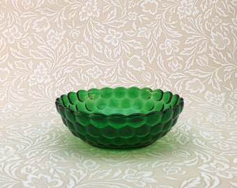 Vintage Anchor Hocking Glass Company Green Depession Glass Bubble Bowl