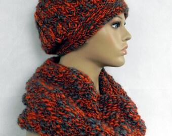 BEANIE * Cap * slouch * LOOP * scarf * set 2 pieces * wool * handmade *.