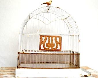 vintage bird cage, white bird cage, metal bird cage