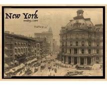 "Wooden Postcards, Wood Postcard,  New York City Postcard, NYC Postcard,Broadway, Post Office, c.1894, Vintage, RPPC Photo Postcard, 5"""