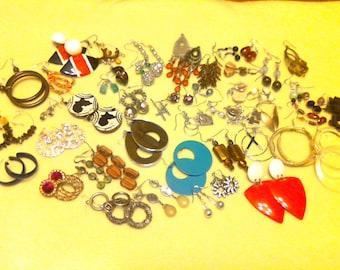 51 pair pierced earrings. Vintage/modern