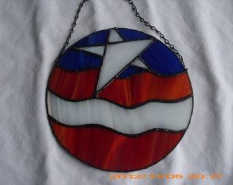 Stained Glass Flag Suncatcher