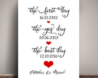 A3 art print, wedding day wall picture, print, #The best day, engagement