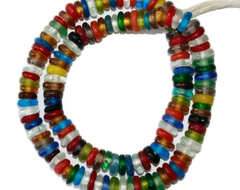 Glass Beads Handmade Recycled Glass 2 x 10 mm Spacer Beads Multi-Uses, African, Gorgeous