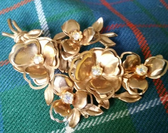 Vintage Brooch, Coro Flower, Brushed Gold Tone with Aurora Borealis Rhinestones