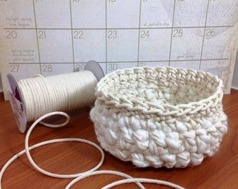 Basket - Cotton Cord and Wool Small Basket - Small Easter Basket